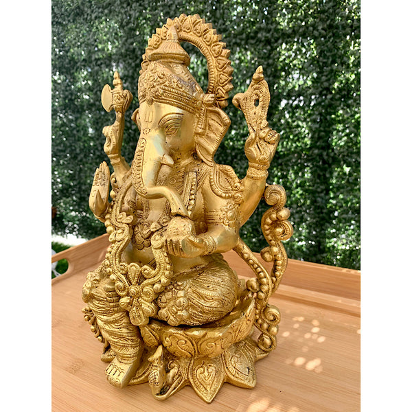 "12"" Lord Ganesh Brass Idol - Decorative Figurine-Crafts N Chisel-Indian Handicrafts Online USA"
