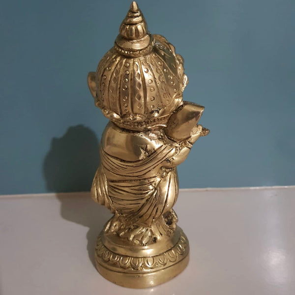 Flute Ganesh Brass Idol-Crafts N Chisel - Indian handicrafts home decor USA