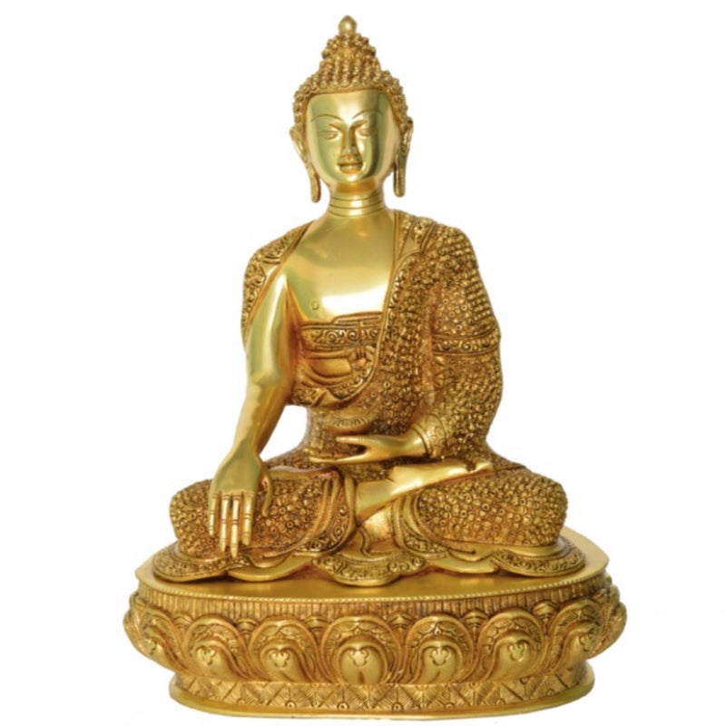 "16.5"" Lord Buddha Idol - Brass Art - Religious - Decorative - Crafts N Chisel online handicarfts UsA"