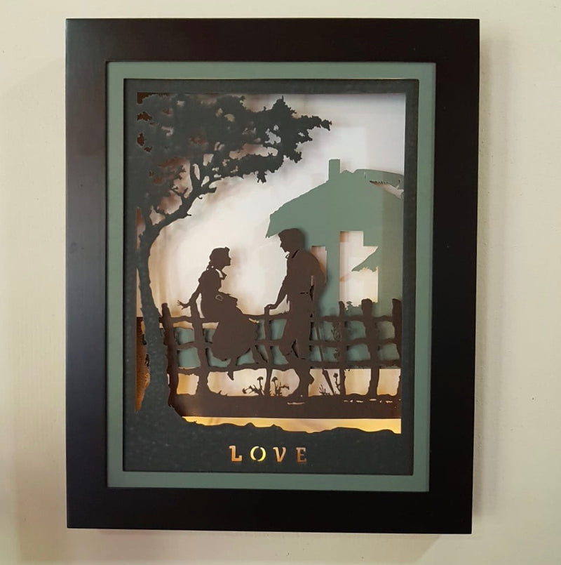 Decorative Wooden Multilayer Designer Frame - Romantic Couple - Wall Decor - Crafts N Chisel - Indian home decor - Online USA