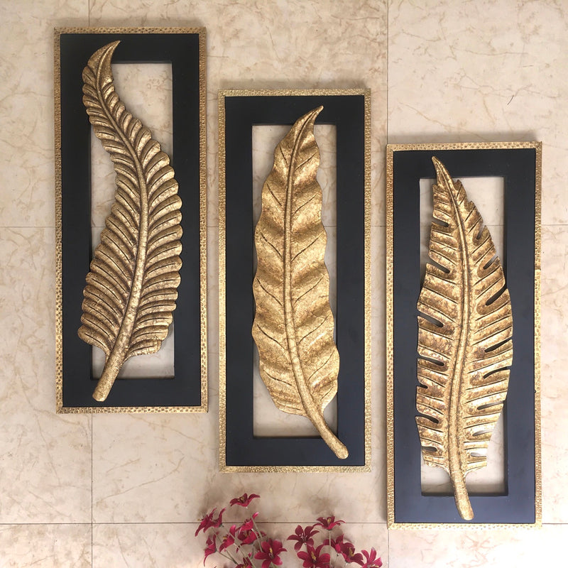 "30"" Brass Leaf Wall Hanging (Set of 3)"