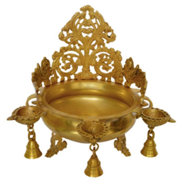 "11"" Decorative Brass Urli & Diya"