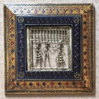 "Single Dhokra Rajasthani 11"" Wall Hanging - Wall Decor - Home Decor-Crafts N Chisel-Indian Handicrafts Online USA"