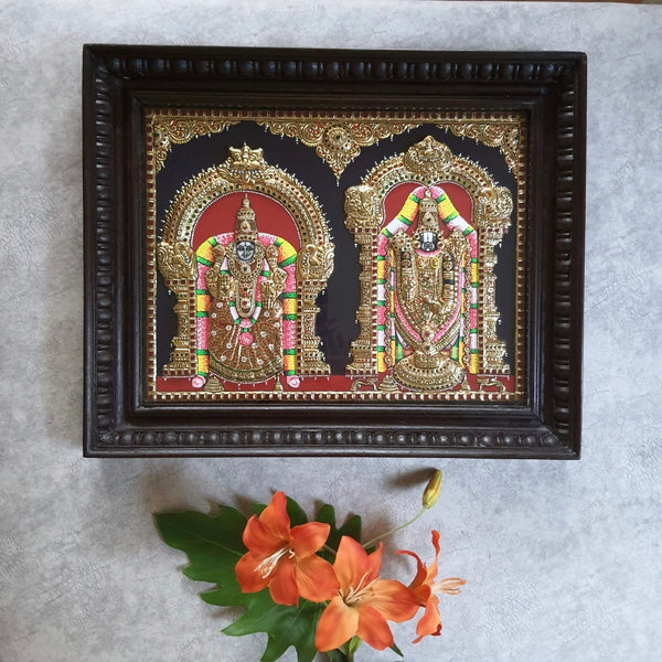 Lord Tirupati Balaji & Padmavathi Devi - 3D Tanjore Painting - Tradtional Wall Art-Crafts N Chisel-Indian Handicrafts Online USA