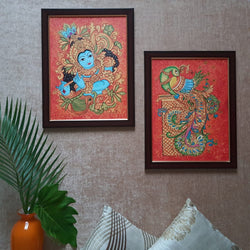 Krishna & Parrot Kerala Mural (Set of 2) - Handpainted Wall Decor - Crafts N Chisel - indian home decor usa