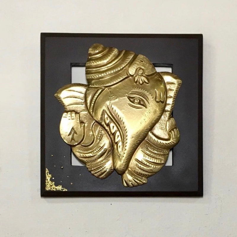 Shank Ganesha Wall Hanging - Wall Decor-Crafts N Chisel - Indian handicrafts home decor USA