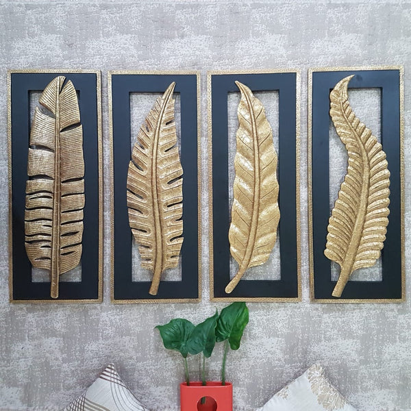 "30"" Brass Leaf Wall Hanging (Set of 4) - Crafts N Chisel - indian home decore online store Usa"