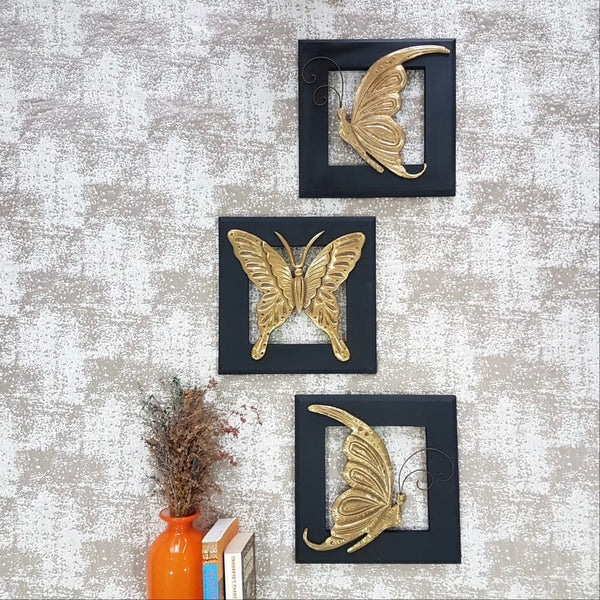 Butterfly Wall Hanging (Set of 3) - indian handicrafts wall decor- crafts N Chisel - online USA