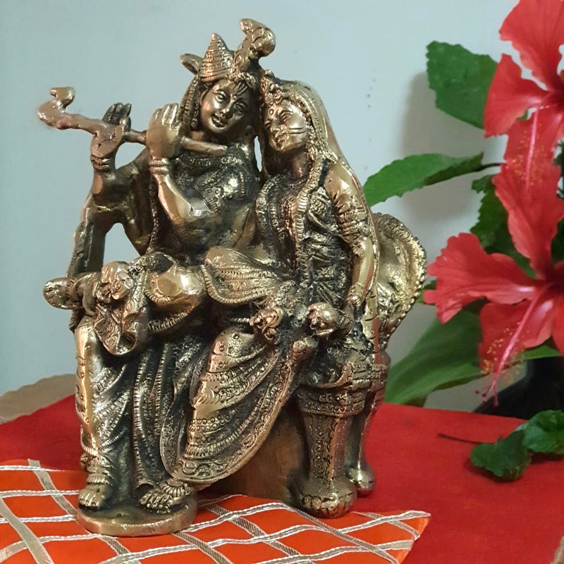 Radha Krishna Decorative Brass Idol and Statue-Crafts N Chisel - Indian handicrafts home decor USA