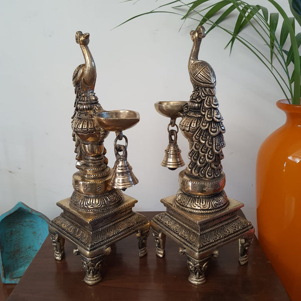 Sitting Peacock Diya & Bell (Set of 2) - Handmade Brass lamp - Decorative-Crafts N Chisel-Indian Handicrafts Online USA