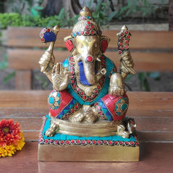 "8"" Lord Ganesh Brass Idol - handcrafted turquoise Inlay - Decorative Statue - Crafts N Chisel - Indian home decor - Online USA"