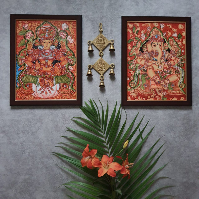 Lakshmi Ganesha Kerala Mural & Hanging Bell (Set of 3) - Handpainted Wall Decor