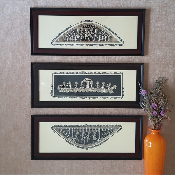 Dhokra Warli Wall Hanging (set of 3) - Wall Decor - Home Decor
