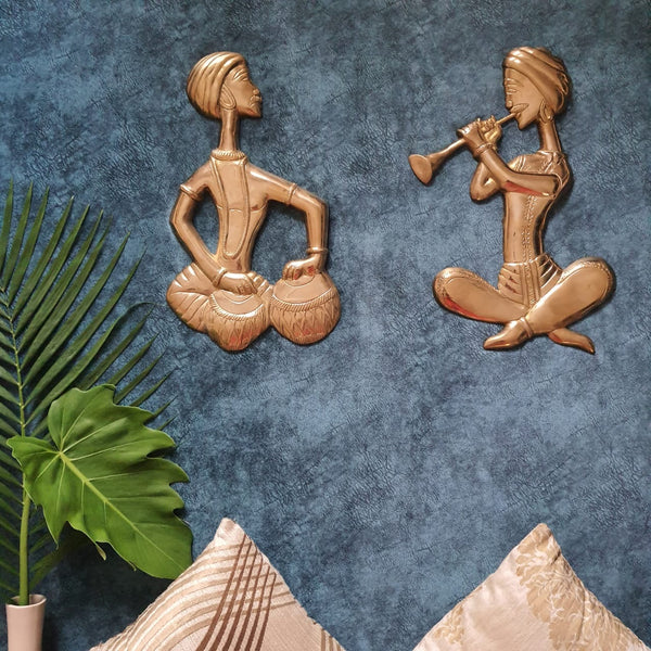 brass Musician Wall Decor - crafts n chisel - indian home decor - crafts n chisel