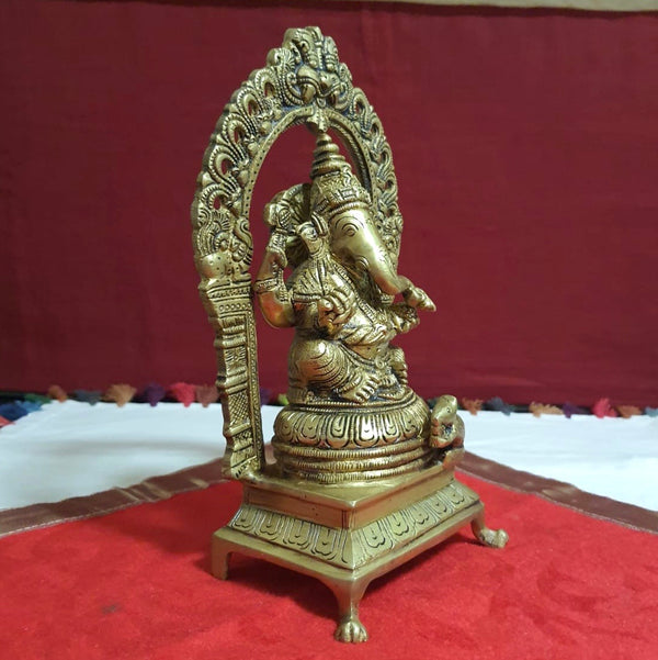 Lord Ganesh Brass Idol With Yali Prabhavali - Decorative Statue-Crafts N Chisel-Indian Handicrafts Online USA