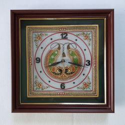 "Gold leaf 12"" Marble Clock - Meenakari Stone Art Jewelry Painting - Home Decor"
