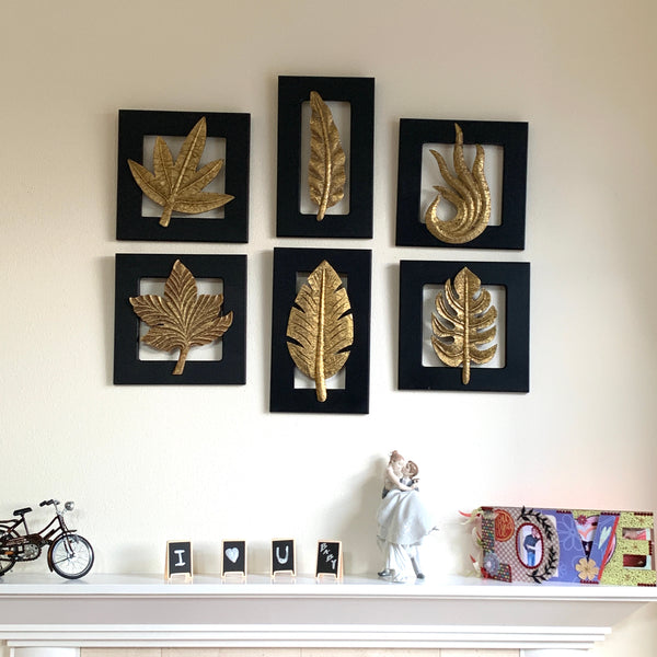 Brass Leaf Wall Hanging (Set of 6) - Crafts N Chisel - Indian home decor - Online USA