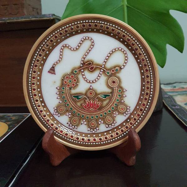 "Gold Leaf Meenakari Jewelry Painting - Decorative Round Marble 6"" Plate - Crafts N Chisel - Indian home decor - Online USA"