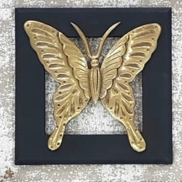 Butterfly Wall Decor - Black Wooden Frame - Wall hanging-Crafts N Chisel - Indian handicrafts home decor online USA