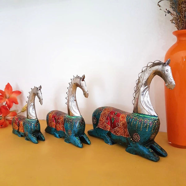 Decorative Wooden Metallic Horse (set of 3)