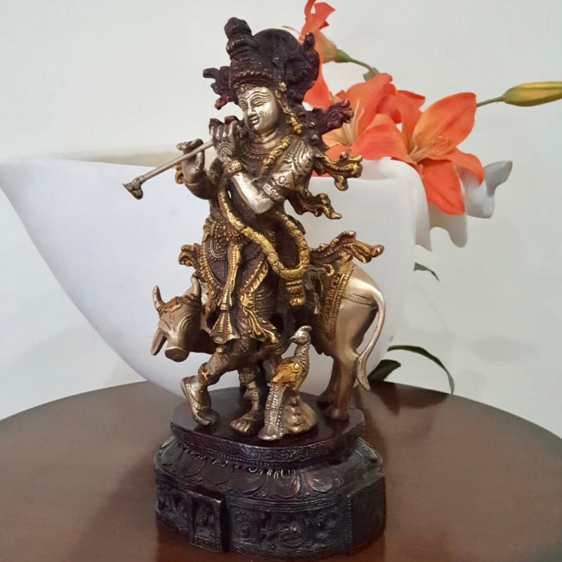 "12"" Lord Krishna & Cow idol - Brass Lacquer Finish"