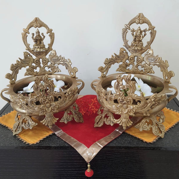 Lakshmi Ganesha Decorative Brass Urli (Set of 2)-Crafts N Chisel-Indian Handicrafts Online USA
