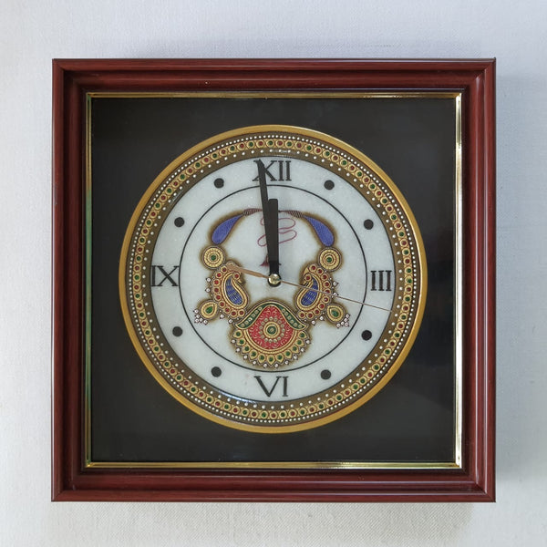 "Gold leaf 12"" Marble Clock - Meenakari Jewellery Painting - Home Decor-Crafts N Chisel-Indian Handicrafts Online USA"