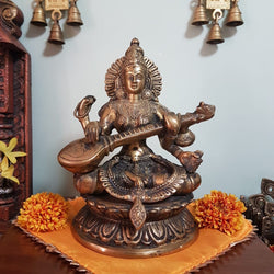 Goddess Saraswati Brass Idol - Decorative Figurine-Crafts N Chisel-Indian Handicrafts Online USA