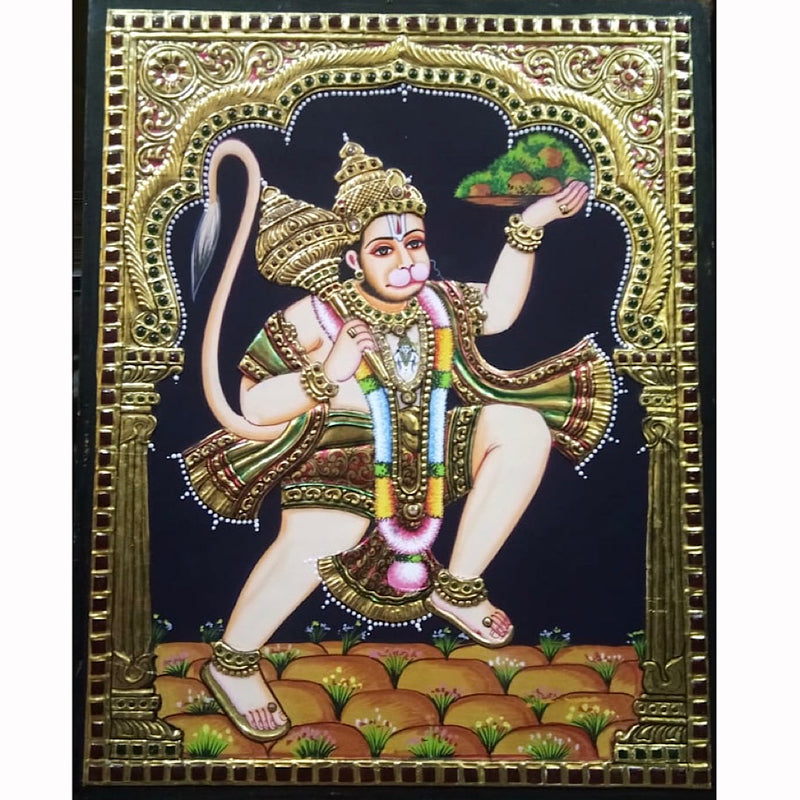 Lord Hanuman Tanjore Painting - Traditional Wall Art - Crafts N Chisel