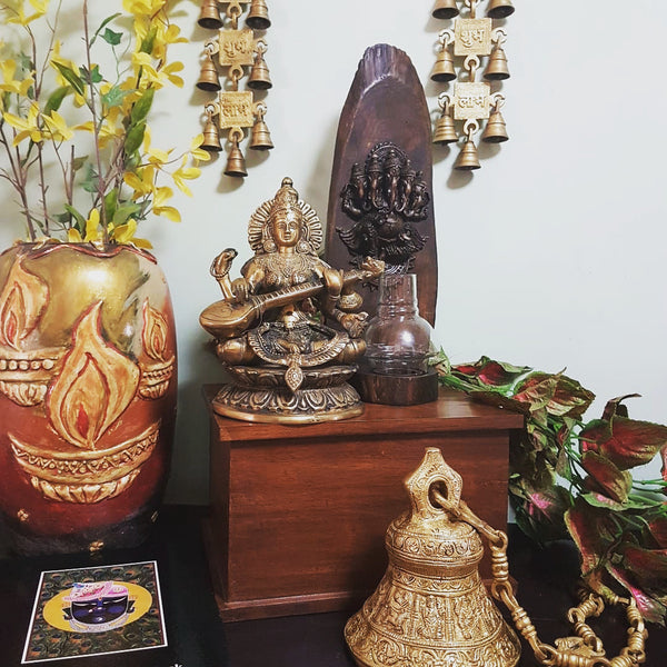 Goddess Saraswati, Ganesha tea light, Dashavtar Vishnu bell and Shubh labh hanging Bell brass indian handicrafts home decor - Crafts N Chisel