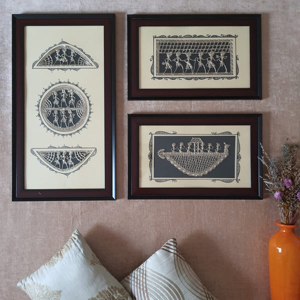 Dhokra Warli Wall Hanging (set of 3) - Wall Decor - Home Decor-Crafts N Chisel-Indian Handicrafts Online USA