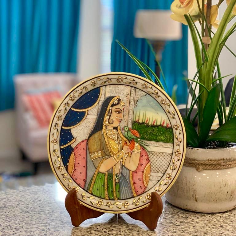 "Gold Leaf Meenakari Portrait Painting, Rajasthani Royalty - Decorative 9"" Round Marble Plate - Home Decor - Crafts N Chisel"