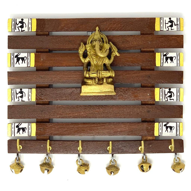 Brass Ganesha & Warli Hand-Painted Key Holder On Wood (6 Hooks) - Wall Decor crafts n chisel