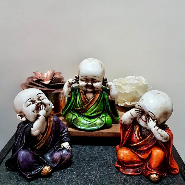 Little Monk Buddha (Set of 3) - Religious Idol - Decorative Collectible - Crafts N Chisel - Indian home decor - Online USA