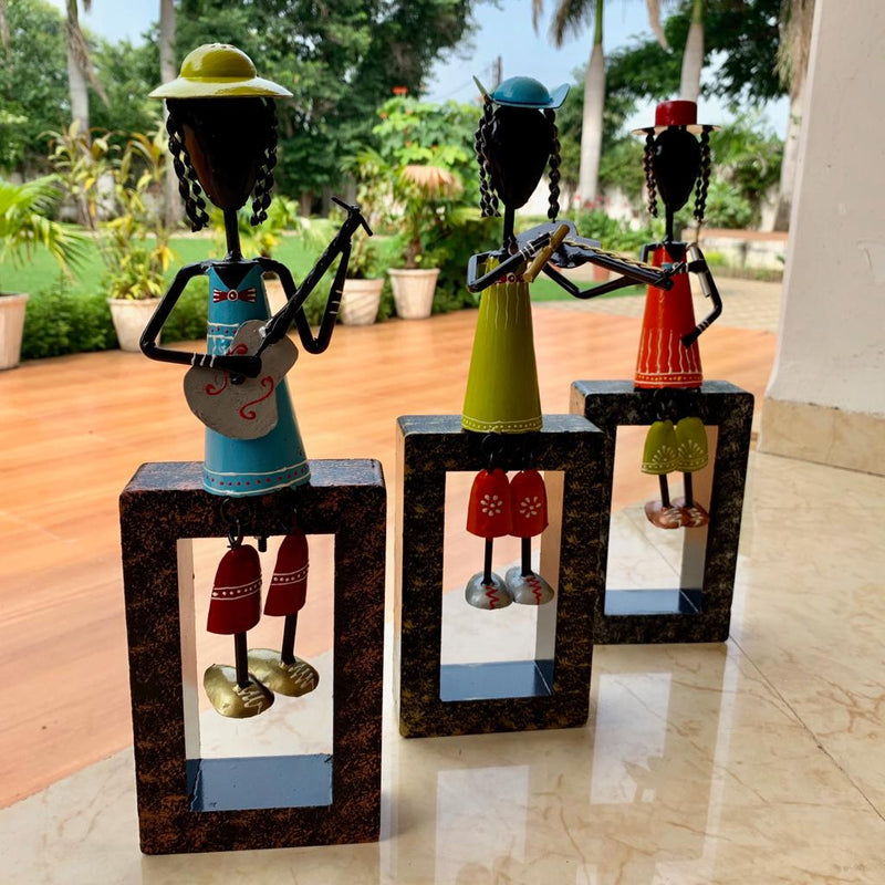 Colorful Metallic Musician Decorative (set of 3) - Table Decor / Wall Hanging - Home Decor - Crafts N Chisel