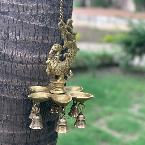 Peacock Hanging Diya Bell - Brass Wall Hanging - Decorative and Religious - Crafts N Chisel - Indian home decor - Online USA