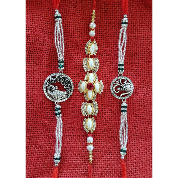 Unique and designer Rakhi Set of 3 for Bhai- Rakshabandhan Festival Celebration - Crafts N Chisel