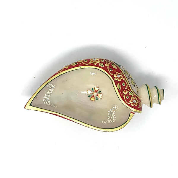 "Marble Conch Shell (Shankh) 8"" - Gold leaf Meenakari Stone Art - Decorative Home Decor - Crafts N Chisel - Indian home decor - Online USA"