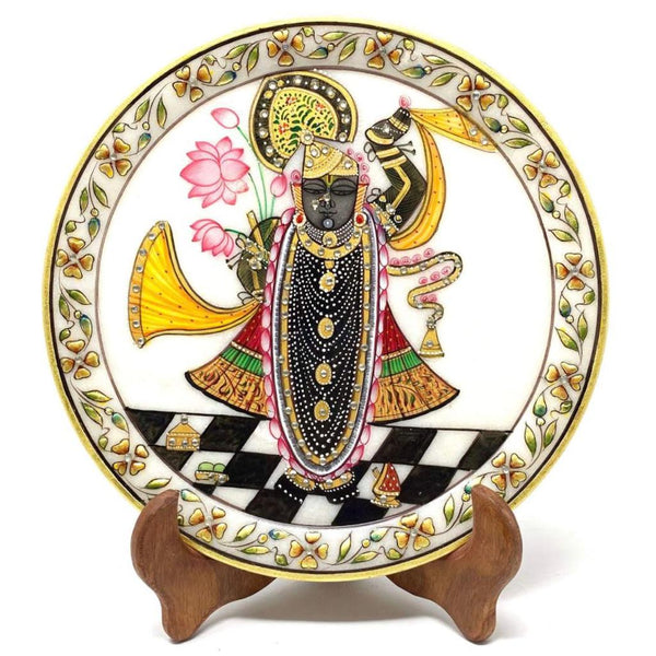 Handcrafted Gold Leaf Marble Round Plate - Decorative - Lord Shrinathji - Crafts N Chisel - Indian home decor - Online USA