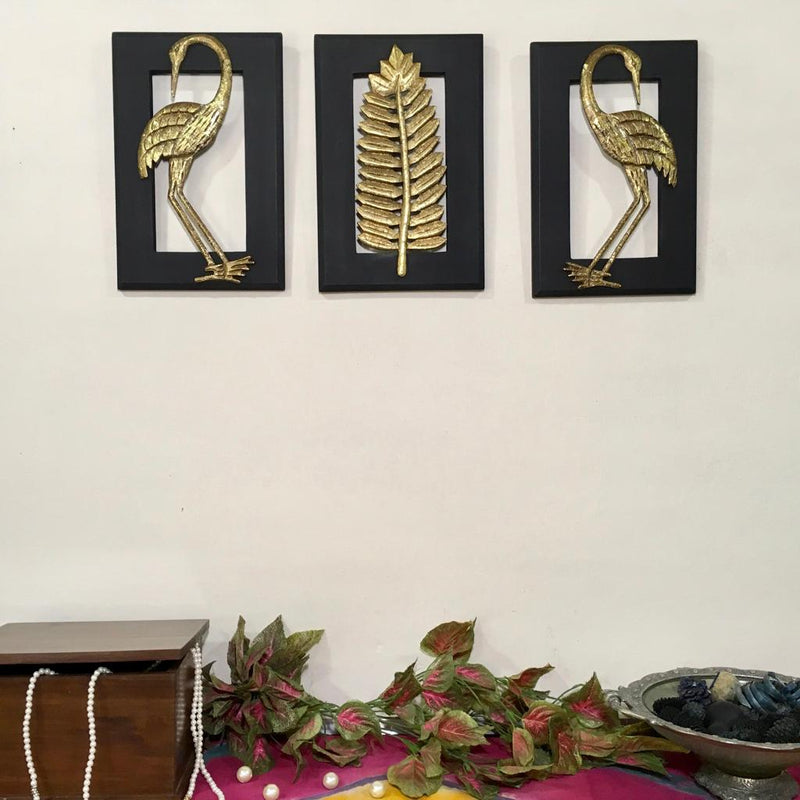 Brass Bird With Leaf Wall Hanging (Set of 3) - wall decor - Crafts N Chisel