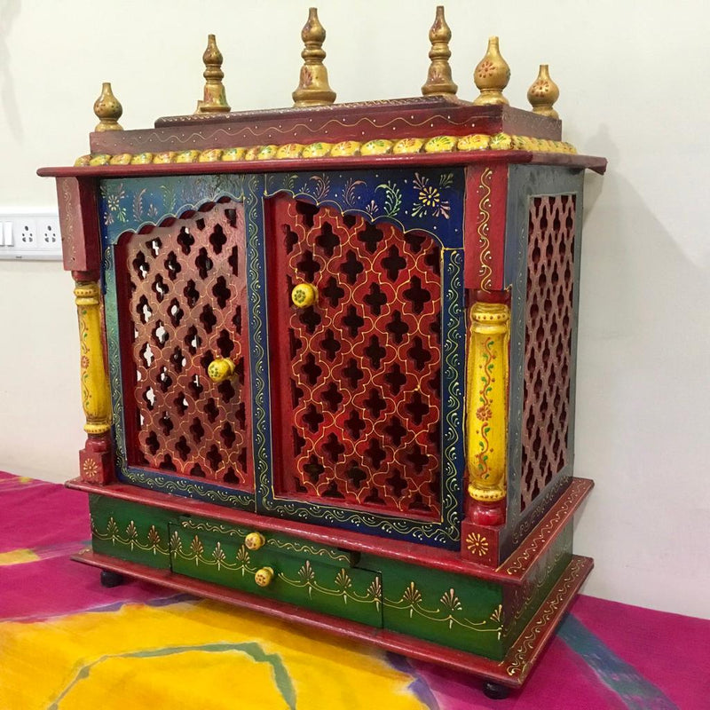 "24"" Wooden Temple Large (Mandir) - Crafts N Chisel - Indian home decor - Online USA"
