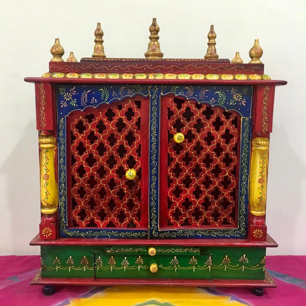 "18"" Wooden Temple (Mandir) - Crafts N Chisel - Indian home decor - Online USA"