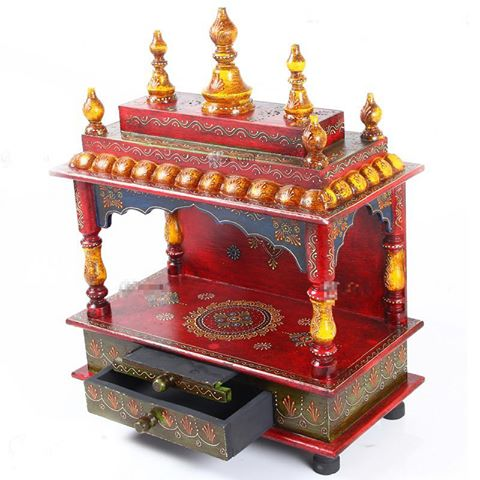 "22"" Wooden Temple (Mandir) Large - Open Design - Crafts N Chisel - Indian home decor - Online USA"