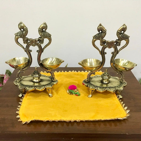 Twin Peacock Double Diya Lamp (Set of 2) - Handmade Brass lamp - Decorative - Home Decor - Crafts N Chisel