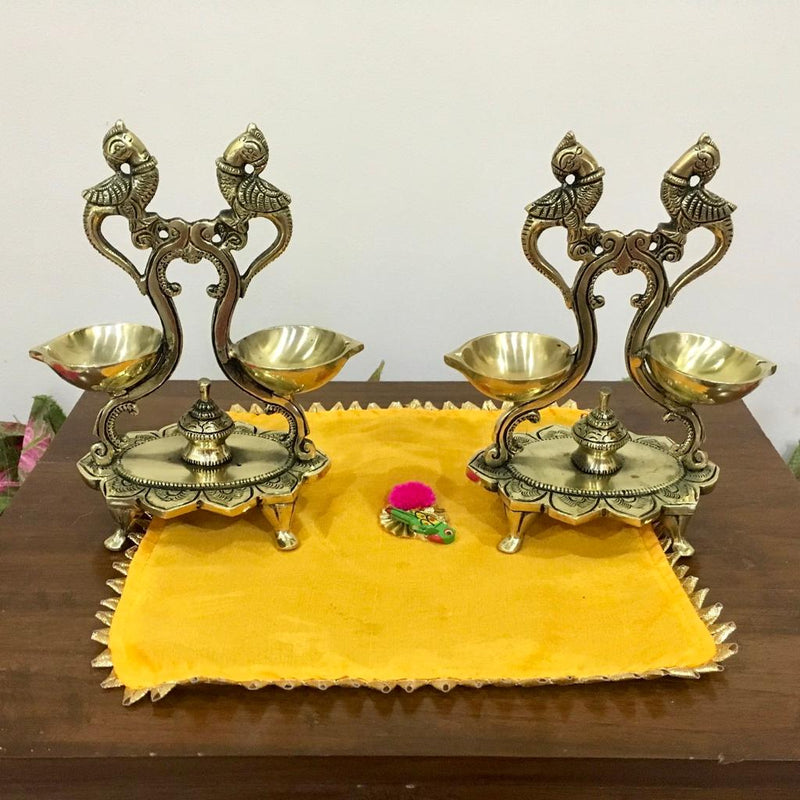Twin Peacock Double Diya Lamp (Set of 2) - Handmade Brass lamp - Decorative - Crafts N Chisel - Indian home decor - Online USA