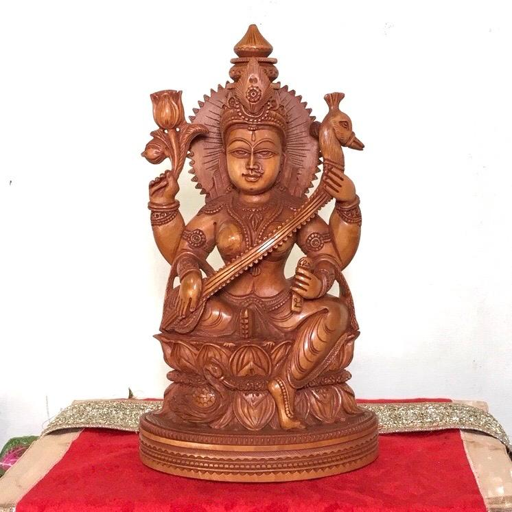 Goddess Saraswati Wooden Idol - Decorative Figurine - Crafts N Chisel - Home decor - Divine Collection