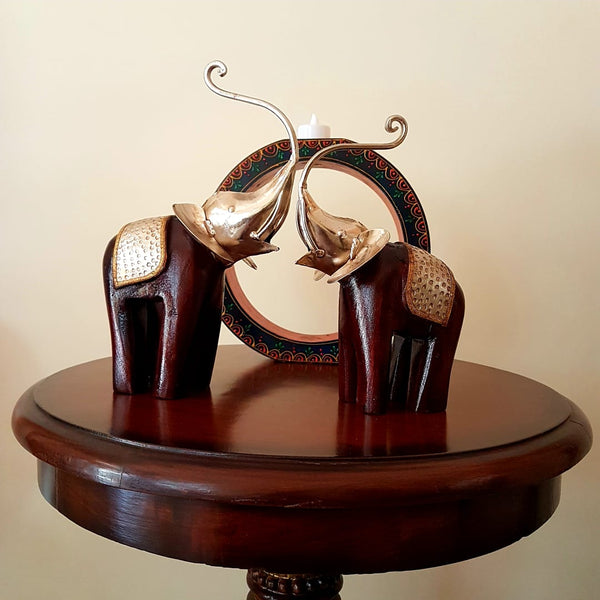 Decorative Wooden Metallic Elephant (set of 2) - home decor - table decor crafts n chisel
