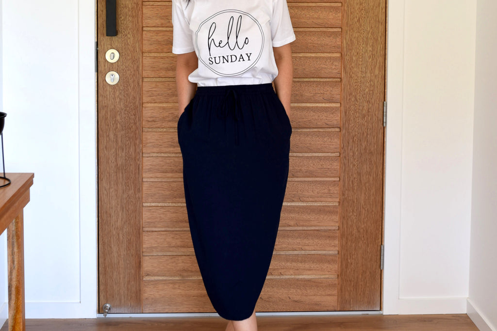 Navy Tulip Skirt <br> On Sale