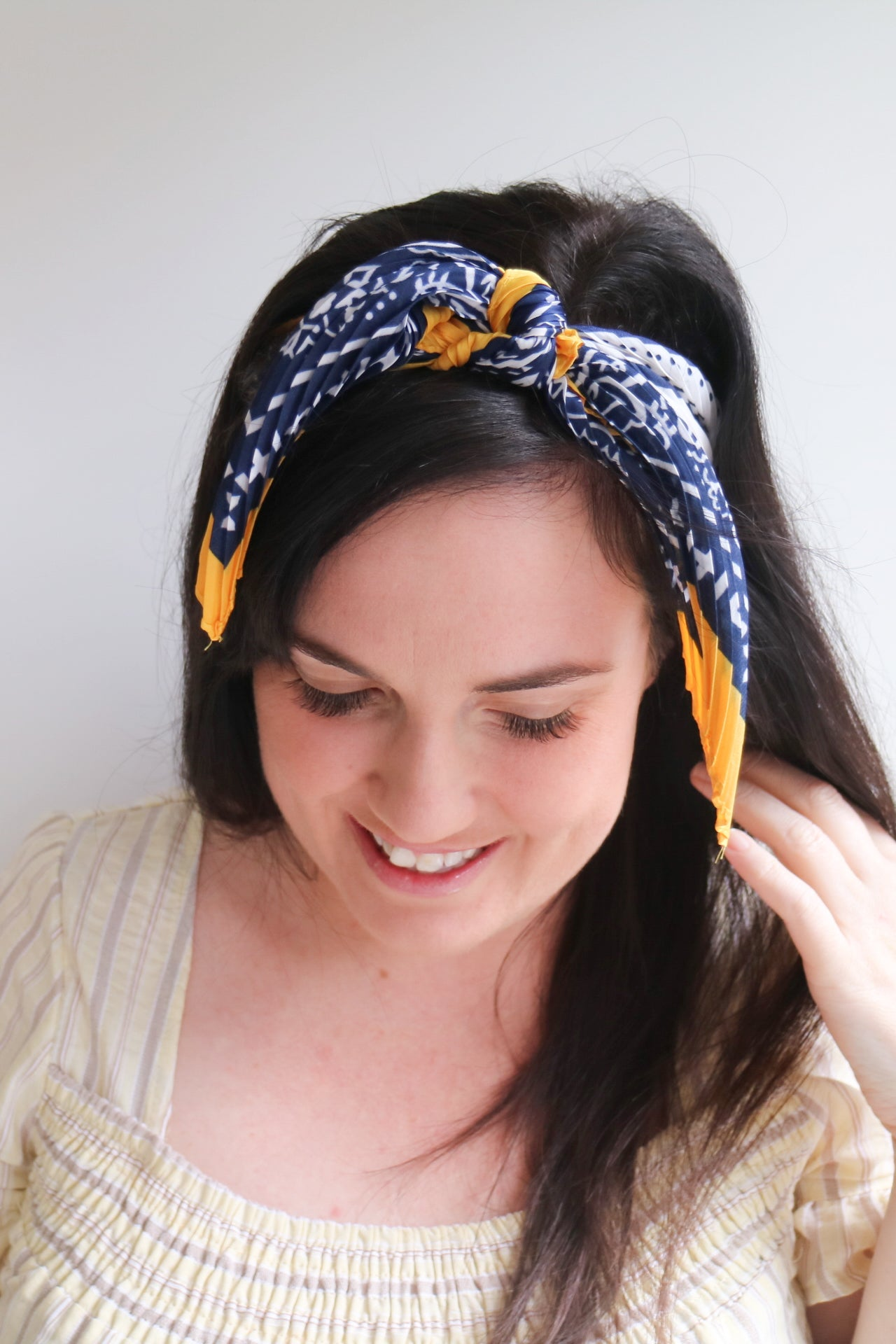 Navy & Mustard Head Scarf