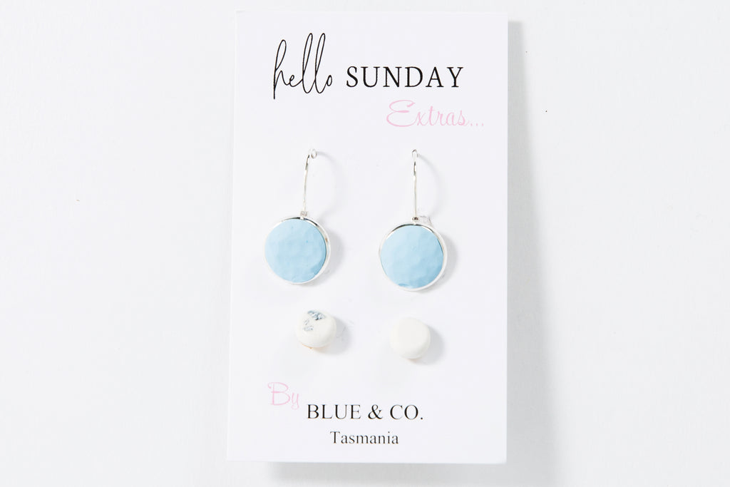 Baby Blue- Clay Drop Earring set